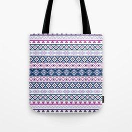 Aztec Stylized Pattern Blues Pinks Purples White Tote Bag