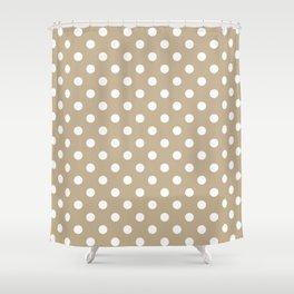 Small Polka Dots - White on Khaki Brown Shower Curtain