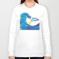 hokusai Long Sleeve T-shirts featuring Hokusai Rainbow & dolphin_C by FACTORIE