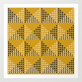 Layered Geometric Block Print in Mustard Art Print