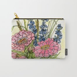 Pink Zinnias in Pitcher Watercolor Carry-All Pouch
