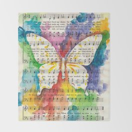 O Happy Day  Butterfly Watercolor on Sheet Music Throw Blanket