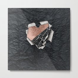 Modern Torn Paper Heart and Rose Gold Marble Metal Print