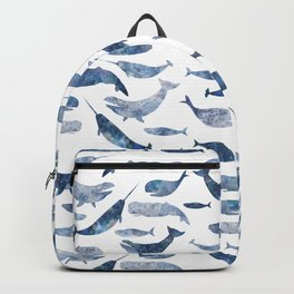 Whales, whale art, whale painting, whale wall art, watercolour whales, ocean Backpack