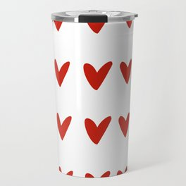 Doodle red hearts and dashes pattern on white Travel Mug