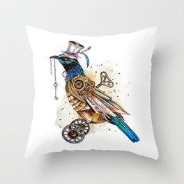 Steampunk Tui Bird  Throw Pillow