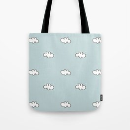 Blue background with small white clouds Tote Bag