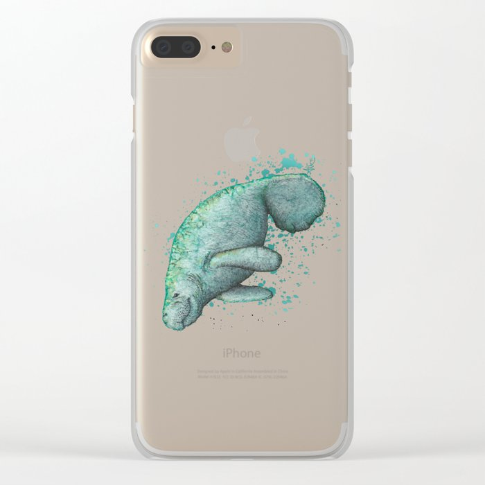 """""""Mossy Manatee"""" by Amber Marine ~ Watercolor & Ink Painting, (Copyright 2016) Clear iPhone Case"""