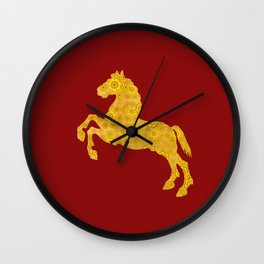 7 Petal Golden Lotus Horse For Chinese New Year of The Horse Wall Clock