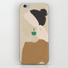 Minimalist Woman with Green Earring iPhone Skin
