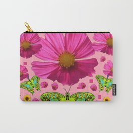 PINK COSMO FLORALS GREEN MOTHS SUNFLOWERS Carry-All Pouch