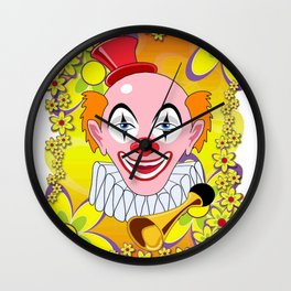 Happy Circus Clown in Abstract Flower Garden Print Wall Clock