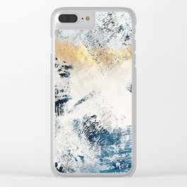 Sunset [1]: a bright, colorful abstract piece in blue, gold, and white by Alyssa Hamilton Art Clear iPhone Case