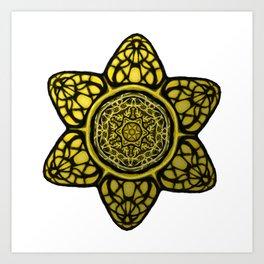 Faux Golden Mandala Star Art Print