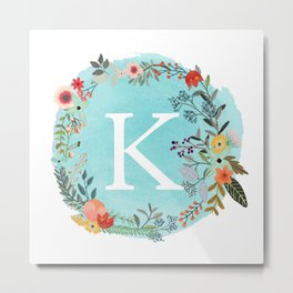 Personalized Monogram Initial Letter K Blue Watercolor Flower Wreath Artwork Metal Print