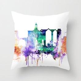 San Joce Watercolor Skyline Throw Pillow