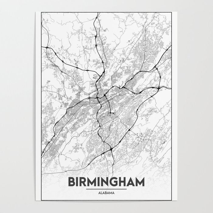 Minimal City Maps - Map Of Birmingham, Alabama, United States Poster by  valsymot