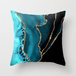 Teal Blue And Gold Glitter Sparkle Veins Agate Throw Pillow