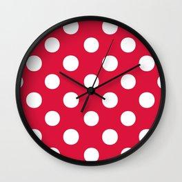 Polka Dots (White/Crimson) Wall Clock