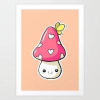 mushroom Art Prints featuring Mushroom by Freeminds