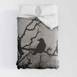Dramatic Crow Birds Raven on Branch Stormy Sky Home Decor Wall Art A526 Comforters