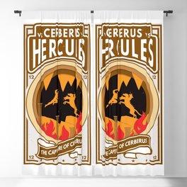 Hercules Versus Cerberus Twelfth Labor Paper Cutout Boxing Style Blackout Curtain
