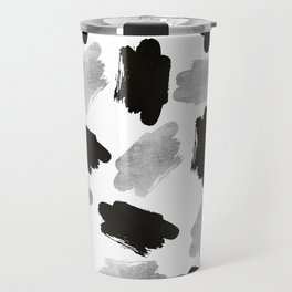 Black faux silver modern abstract brushstrokes Travel Mug