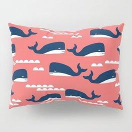 Nautical whales cute simple minimal basic ocean pattern nursery gender nuetral Pillow Sham