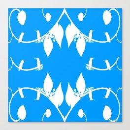 Wedgewood Hummingbirds on White Leaf and Blue Canvas Print