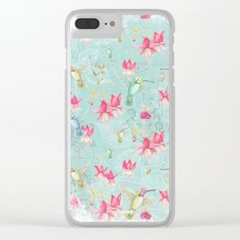 Vintage Watercolor hummingbird and Fuchsia Flowers on mint Background Clear iPhone Case
