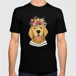 Golden Retriever Dog with Floral Crown Art Print – Funny Decoration Gift – Cute Room Decor – Poster T-shirt