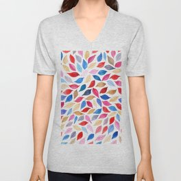 Colorful leaves pattern in watercolor Unisex V-Neck
