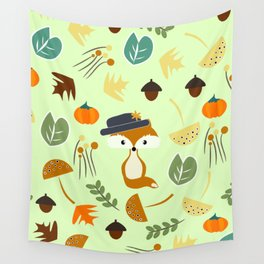 Cute fox in autumn Wall Tapestry