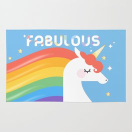 Fabulous Sparkling Rainbow Unicorn Rug