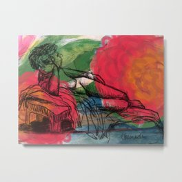 Reclining nude in the flowers Metal Print