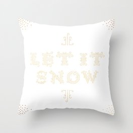 Let it Snow - White Throw Pillow