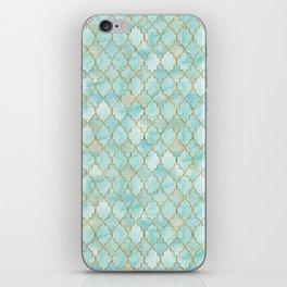 Luxury Aqua and Gold oriental pattern iPhone Skin