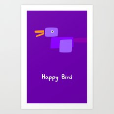 Happy Bird-Purple Art Print
