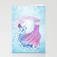 the last unicorn Stationery Cards featuring Last Unicorn by Roots-Love