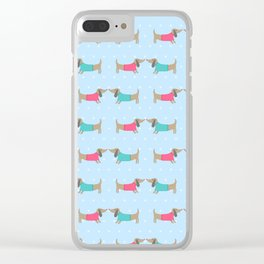 Cute dog lovers with dots in blue Clear iPhone Case