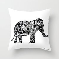ganesh Throw Pillows featuring Ganesh by doctusdesign