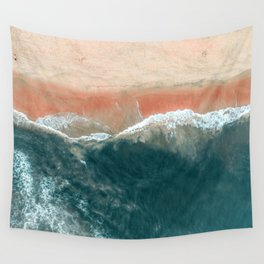 Tropical Drone Beach Photography Wall Tapestry
