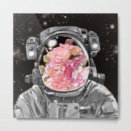 Astronaut Flowers Selfie Metal Print