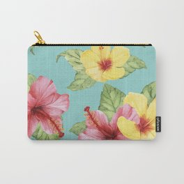 Tropical Hawaiian Hibiscus Floral Print Carry-All Pouch