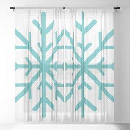 Snowflake (Teal & White) Sheer Curtain