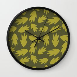 Modern Bold Green Leaf Botanical Wall Clock
