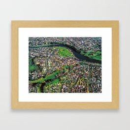 Hamilton City, New Zealand - Aerial view  Framed Art Print