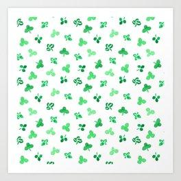 Clover Leaves on White Pattern Art Print