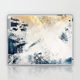 Sunset [1]: a bright, colorful abstract piece in blue, gold, and white by Alyssa Hamilton Art Laptop & iPad Skin
