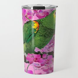 PINK TROPICAL GREEN PARROT & FUCHSIA ORCHIDS  ART Travel Mug
